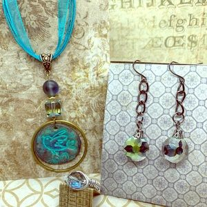 Bird necklace with earrings and ring